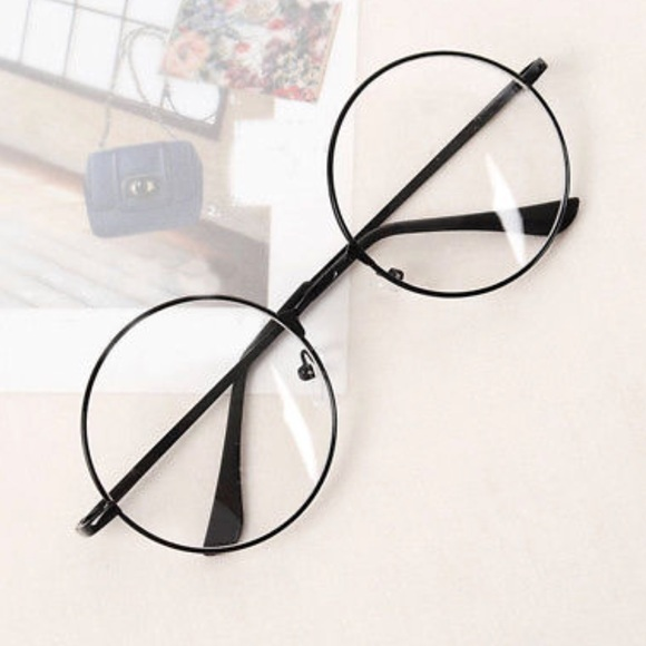 Accessories | Large Black Metal Frame Clear Lens Round Glasses ...